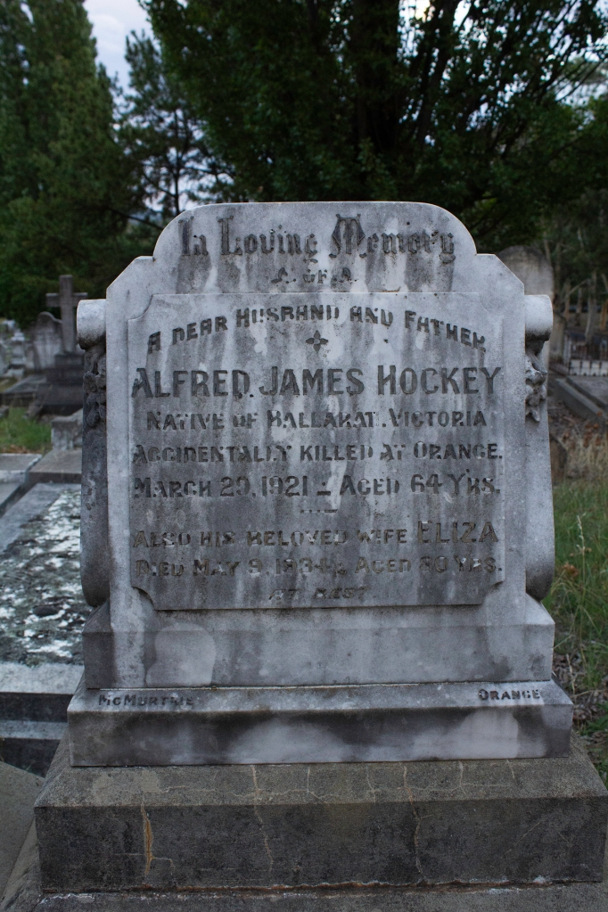 headstone of Alfred James Hockey at the Orange cemetery.